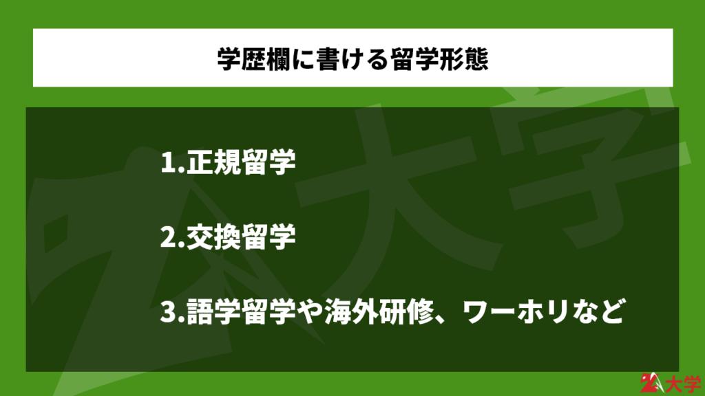 学歴欄に書ける留学形態【交換留学じゃない!】